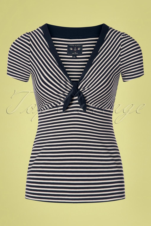 Sailor Dresses, Nautical Theme Dress, WW2 Dresses 50s Brighton Hastings Shirt in Blue and Cream �44.14 AT vintagedancer.com