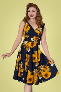 50s Ella Sunflowers Swing Dress in Navy
