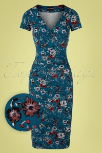50s Flower Garden Pencil Dress in Azure