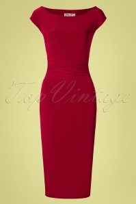 Vintage Chic for TopVintage 50s Jacintha Pencil Midi Dress in Red