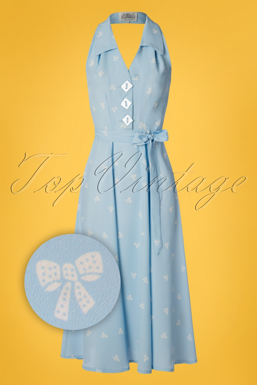 1940s Dresses and Clothing UK | 40s Shoes UK 40s Elizabeth Halterneck Dress in Sky Blue �77.78 AT vintagedancer.com