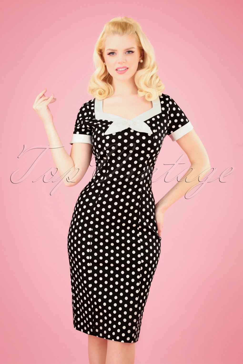 500 Vintage Style Dresses for Sale 50s Polka Love Wiggle Dress in Black �36.27 AT vintagedancer.com