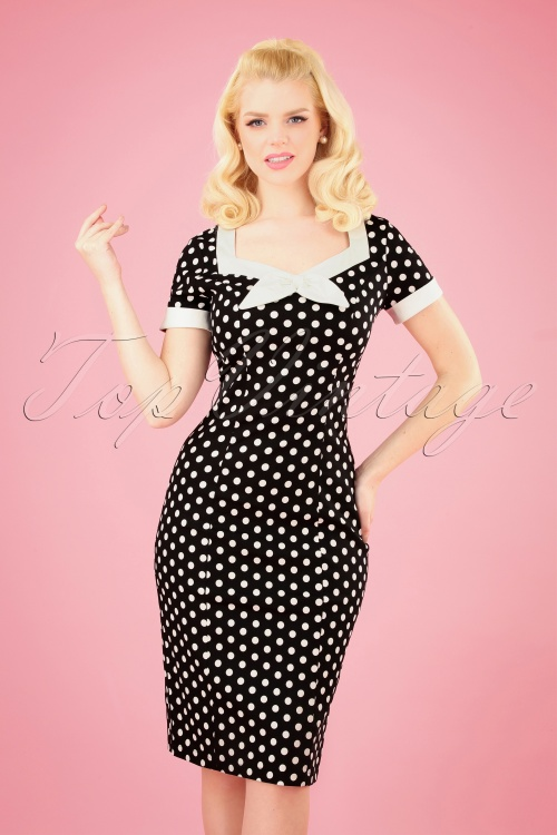 Banned 28458 Polka Love Wiggle Dress in Black 20181220 001 020W