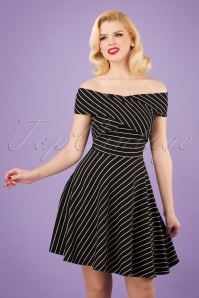 50s Pier Stripes Jersey Dress in Black