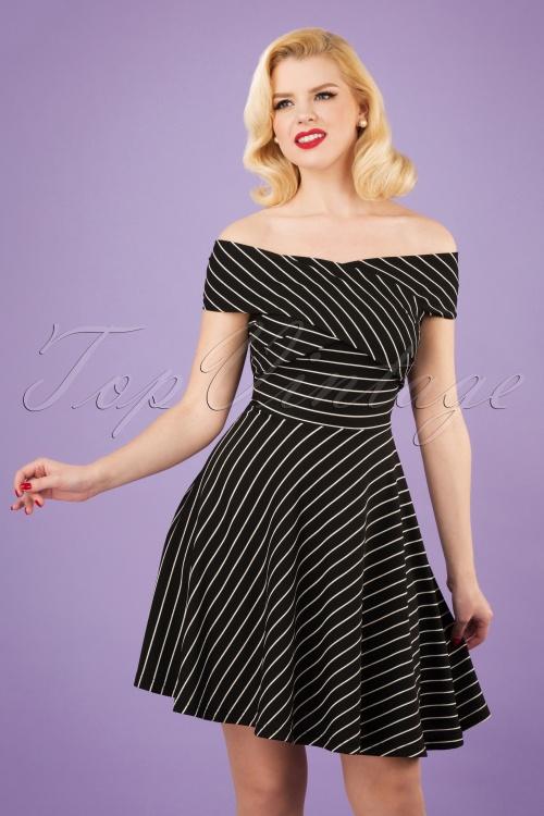 Banned 28485 Pier Stripe Jersey Dress in Black 20181220 01W