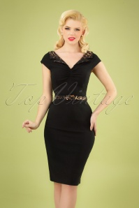 50s Feline Leopard Pencil Dress in Black