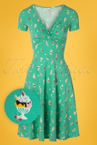 Blutsgeschwister 60s Hot Knot Summer Dress in Ice Ice Baby Green