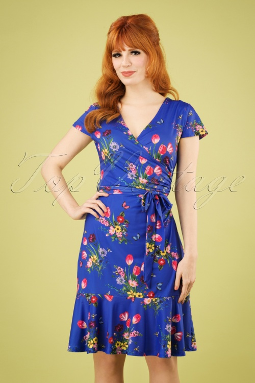 Yumi 27651 Slinky Jersey Blue Floral Dress 20190214 1W