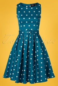 50s Annie Polkadot Swing Dress in Peacock Blue
