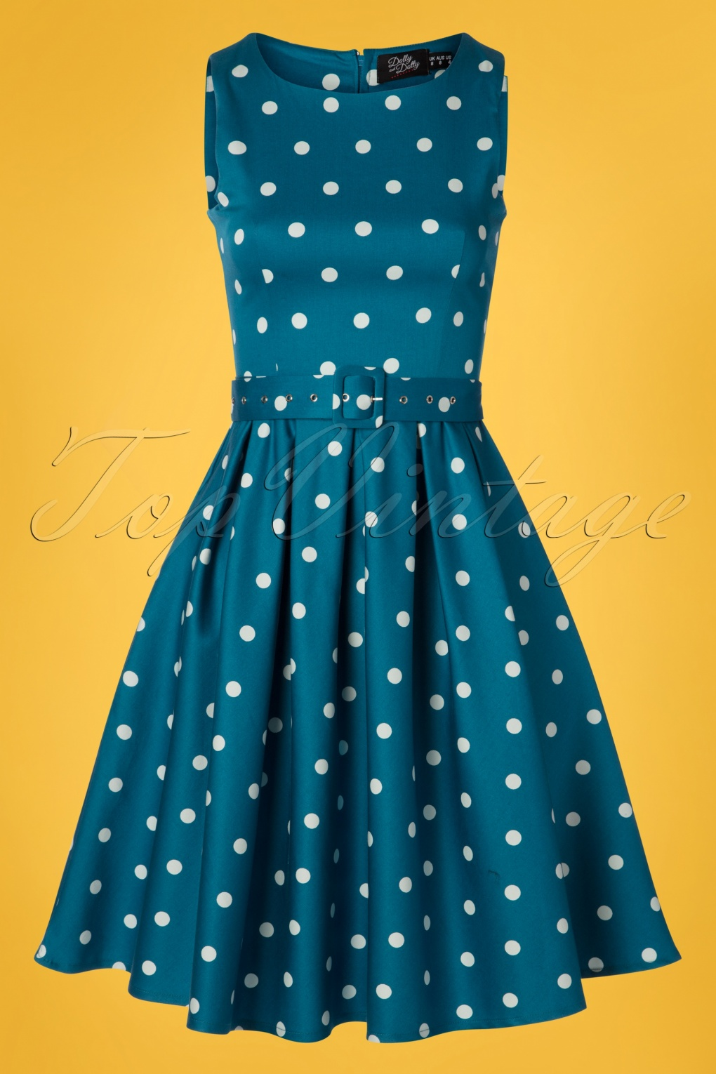 500 Vintage Style Dresses for Sale 50s Annie Polkadot Swing Dress in Peacock Blue �41.46 AT vintagedancer.com