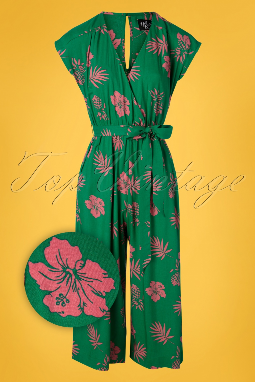 60s – 70s Pants, Jeans, Hippie, Bell Bottoms, Jumpsuits 70s Pineapple Jumpsuit in Green and Pink �35.23 AT vintagedancer.com