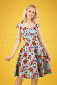 50s Noemie Swing Dress in Blue