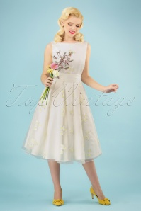 50s Vanessa Daisy Swing Dress in Ivory