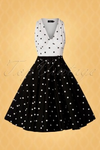 Vintage Diva 28880 Swingdress Polkadots Black White 20190415 0005W