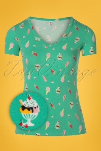 60s Hooray And Up Tee in Ice Ice Baby Green