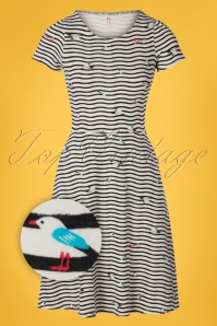 Blutsgeschwister 60s Squeeze Me Tease Me Dress in Seagull Stripes Ivory