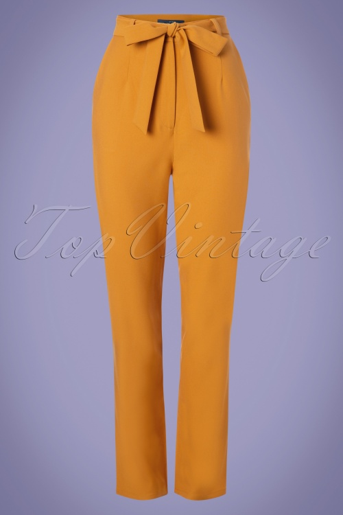 Collectif Clothing 27451 Kloma Plain Trousers in Mustard 20180817 001W