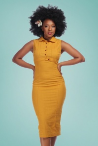 Collectif Clothing 27460 Charlotte Plain Pencil Dress in Yellow 20180815 0020W