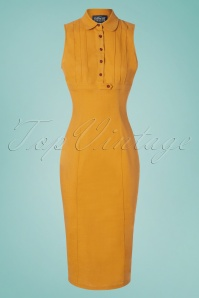 Collectif Clothing 27460 Charlotte Plain Pencil Dress in Yellow 20180815 001W
