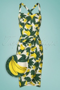 50s Mahina Tropical Banana Sarong Dress in Green and Yellow