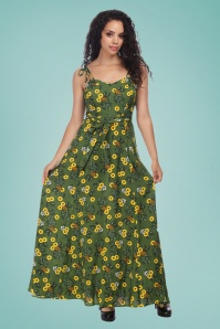 Collectif Clothing 27437 Elsie Pineapple Slice Maxi Dress 20180814 0020W