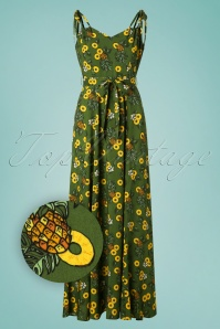 50s Elsie Pineapple Slice Maxi Dress in Green