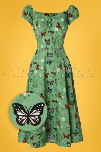 Collectif Clothing 27472 Dolores Butterfly Doll Swing Dress 20180814 002Z