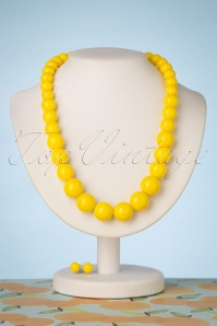 Natalie Bead Necklace Set Années 50 en Jaune