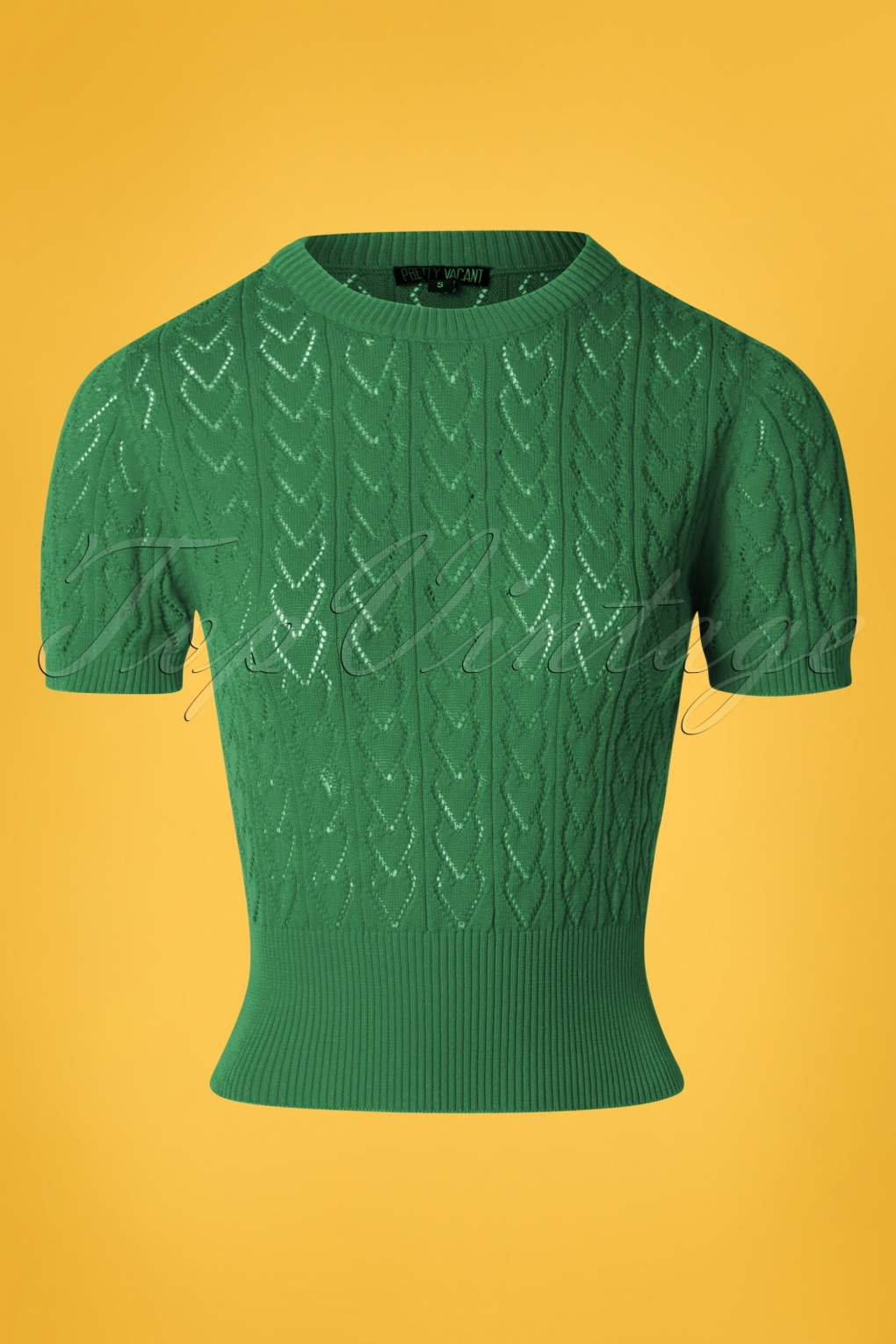 Vintage Sweaters: Cable Knit, Fair Isle Cardigans & Sweaters 60s Heart Crew Top in Green �49.90 AT vintagedancer.com