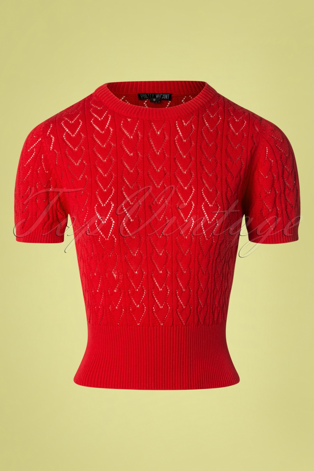 Vintage Sweaters: Cable Knit, Fair Isle Cardigans & Sweaters 60s Heart Crew Top in Red �49.90 AT vintagedancer.com