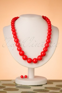 50s Natalie Bead Necklace Set in Red