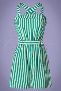 Who's That Girl 50s Sidney Stripes Playsuit in Green and White