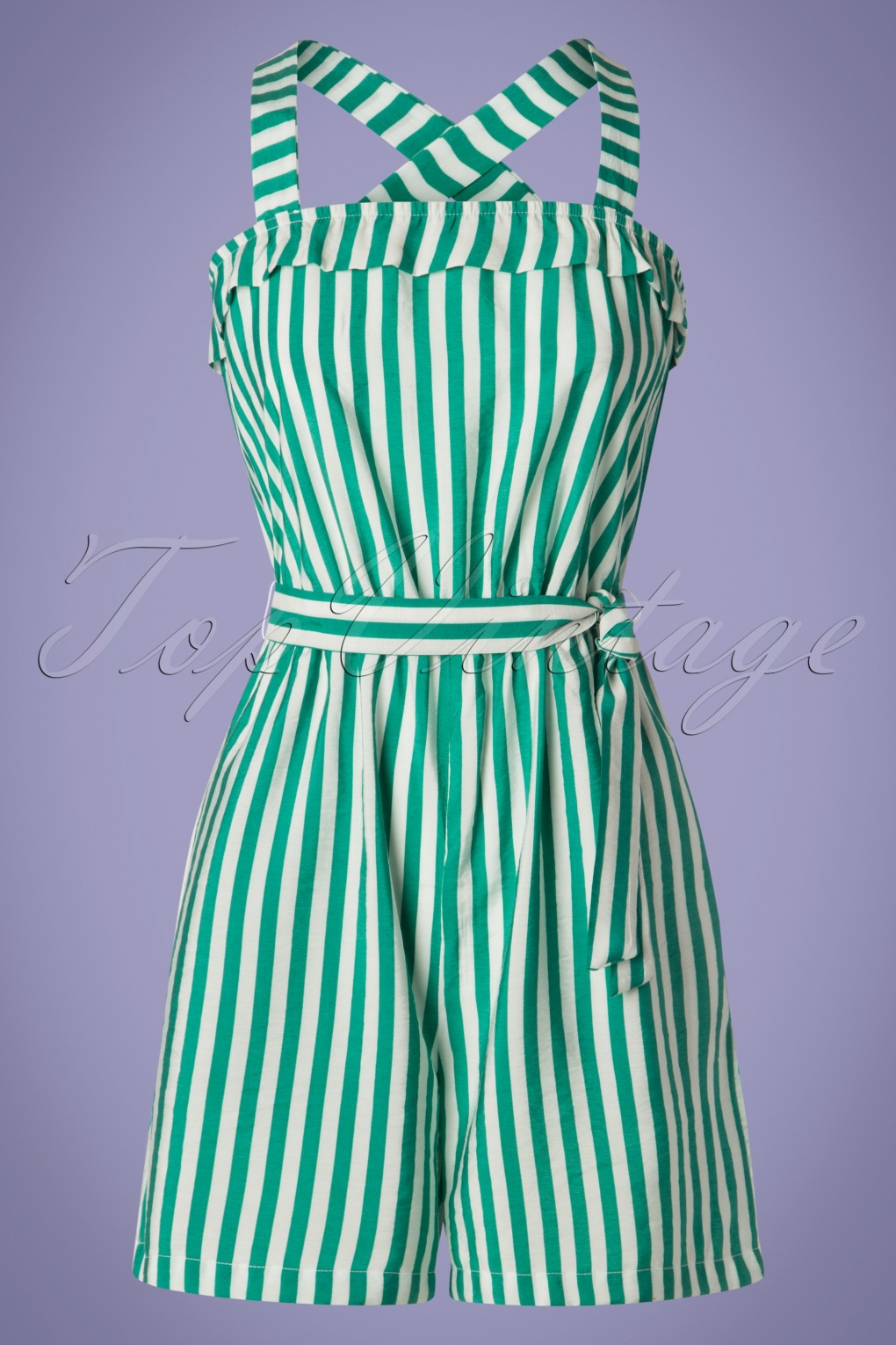 Vintage Rompers, Playsuits | Retro, Pin Up, Rockabilly Playsuits 50s Sidney Stripes Playsuit in Green and White £42.32 AT vintagedancer.com