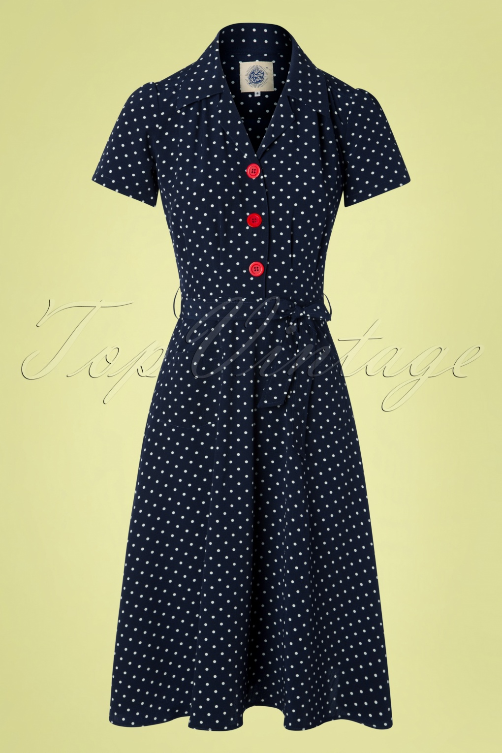 1940s Dresses and Clothing UK | 40s Shoes UK 40s Pretty Polkadot Shirt Dress in Navy �64.81 AT vintagedancer.com