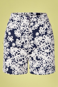 Who's That Girl 60s Donna Girl Shorts in Navy and Off White