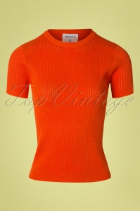 Compania Fantastica Eliana Knitted Top Années 60 en Orange