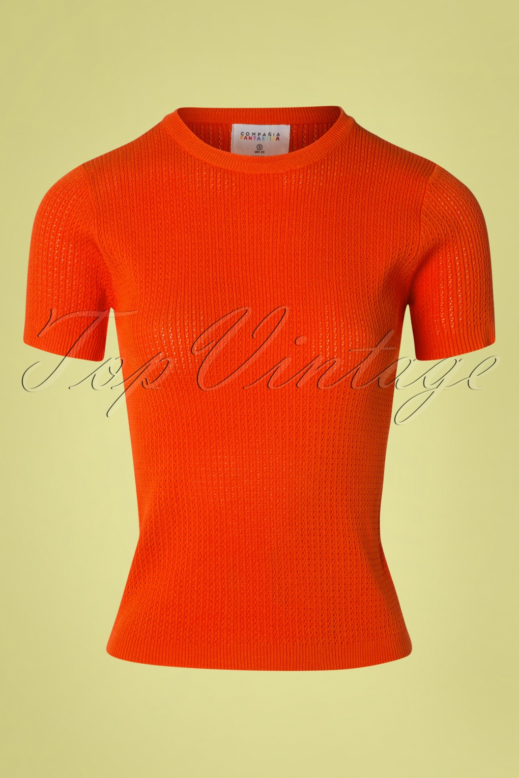 1960s Style Dresses, Clothing, Shoes UK 60s Eliana Knitted Top in Orange �35.00 AT vintagedancer.com