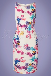 Vintage Chic for TopVintage 50s Ryleigh Floral Pencil Dress in Ivory
