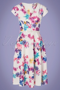 50s Mya Floral Swing Dress in Ivory