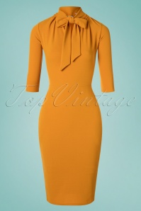 Lindsay Tie Neck Pencil Dress Années 50 en Moutarde