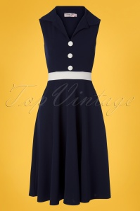 TopVintage Boutique Collection Reese Swing Dress Années 50 en Bleu Marine et Ivoire