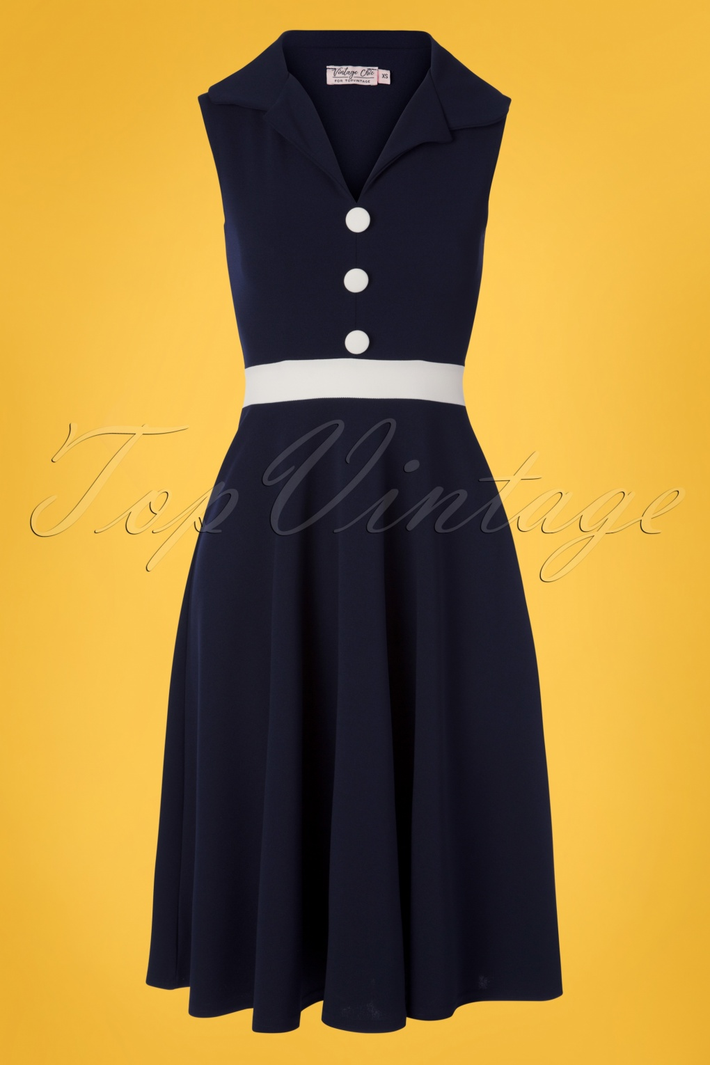 1960s Style Dresses, Clothing, Shoes UK 50s Reese Swing Dress in Navy and Ivory �56.16 AT vintagedancer.com