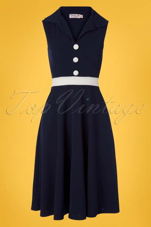 Vintage Chic 28750 Pencildress Blue White  20190417 0003W