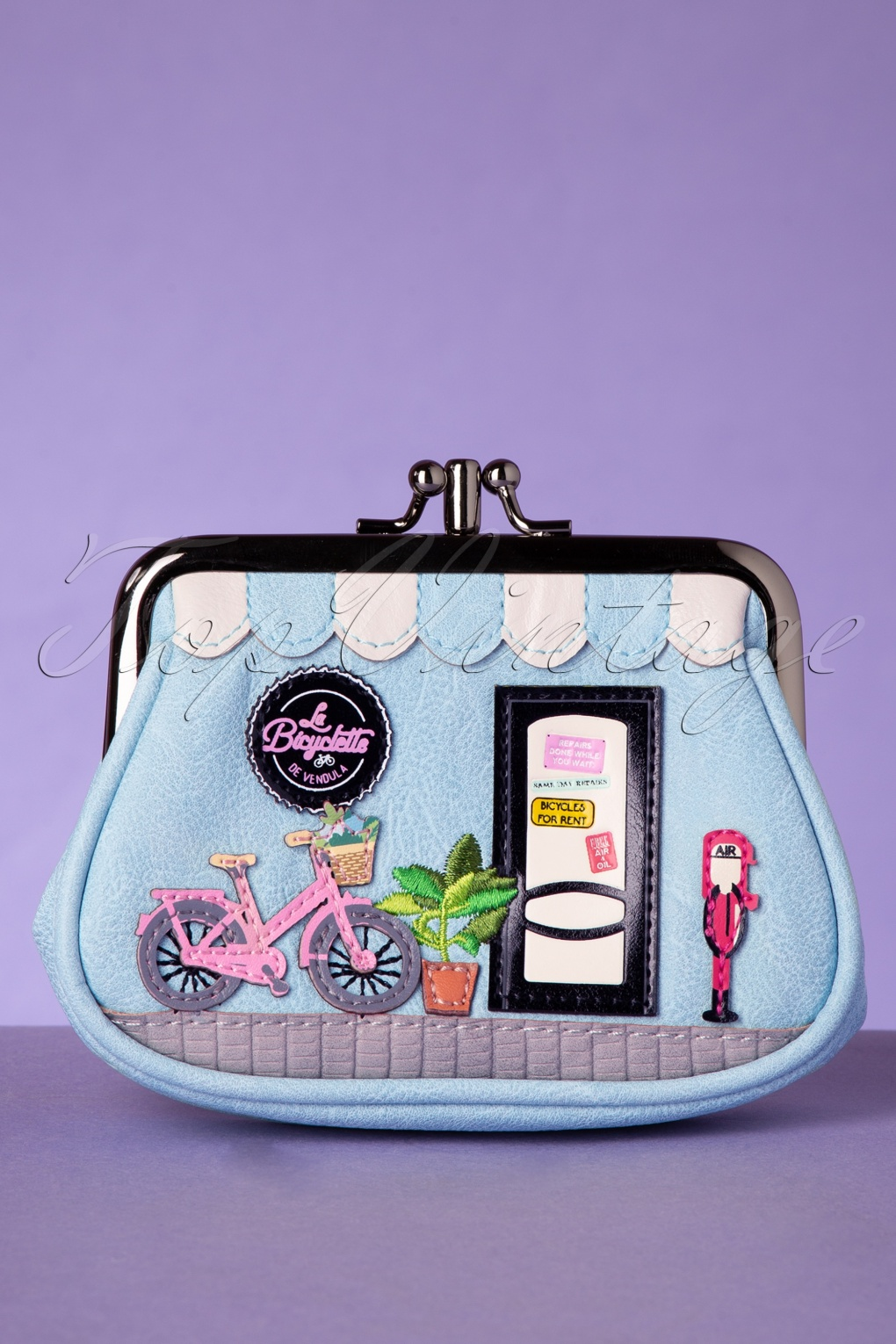 Vintage & Retro Handbags, Purses, Wallets, Bags 50s Vintage Bicyclette Coin Purse in Heavenly Blue �22.92 AT vintagedancer.com
