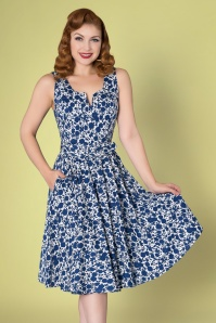 Sheen 50s Mina Swing Dress in White and Navy