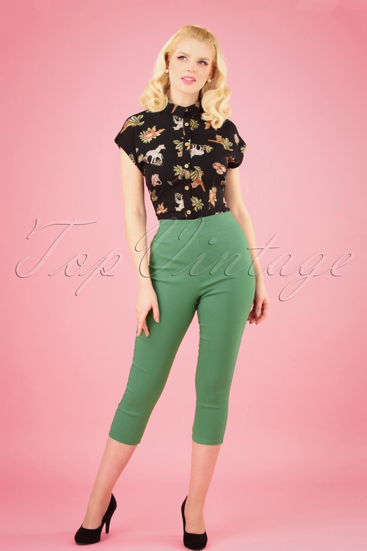 1950s Pants History for Women 50s Tina Capri Pants in Khaki £27.63 AT vintagedancer.com