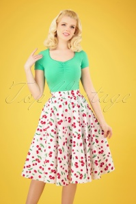 50s Sweetie Swing Skirt in White