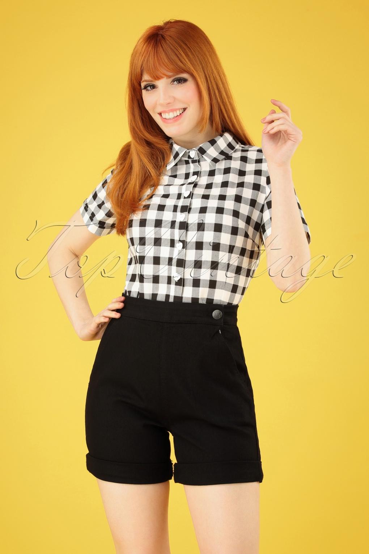 Vintage Shorts, Culottes,  Capris History 50s Yaz Denim Shorts in Black �27.63 AT vintagedancer.com