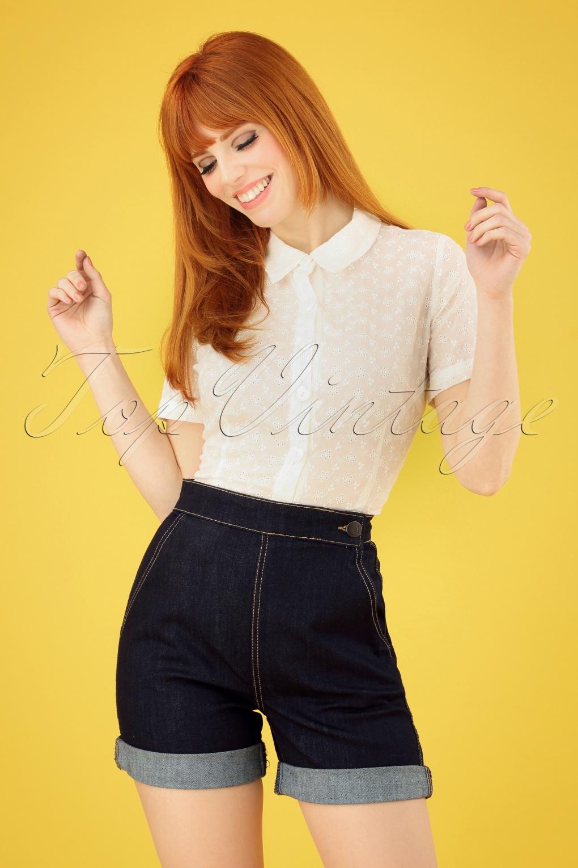 Vintage Shorts, Culottes,  Capris History 50s Yaz Denim Shorts in Navy �27.63 AT vintagedancer.com