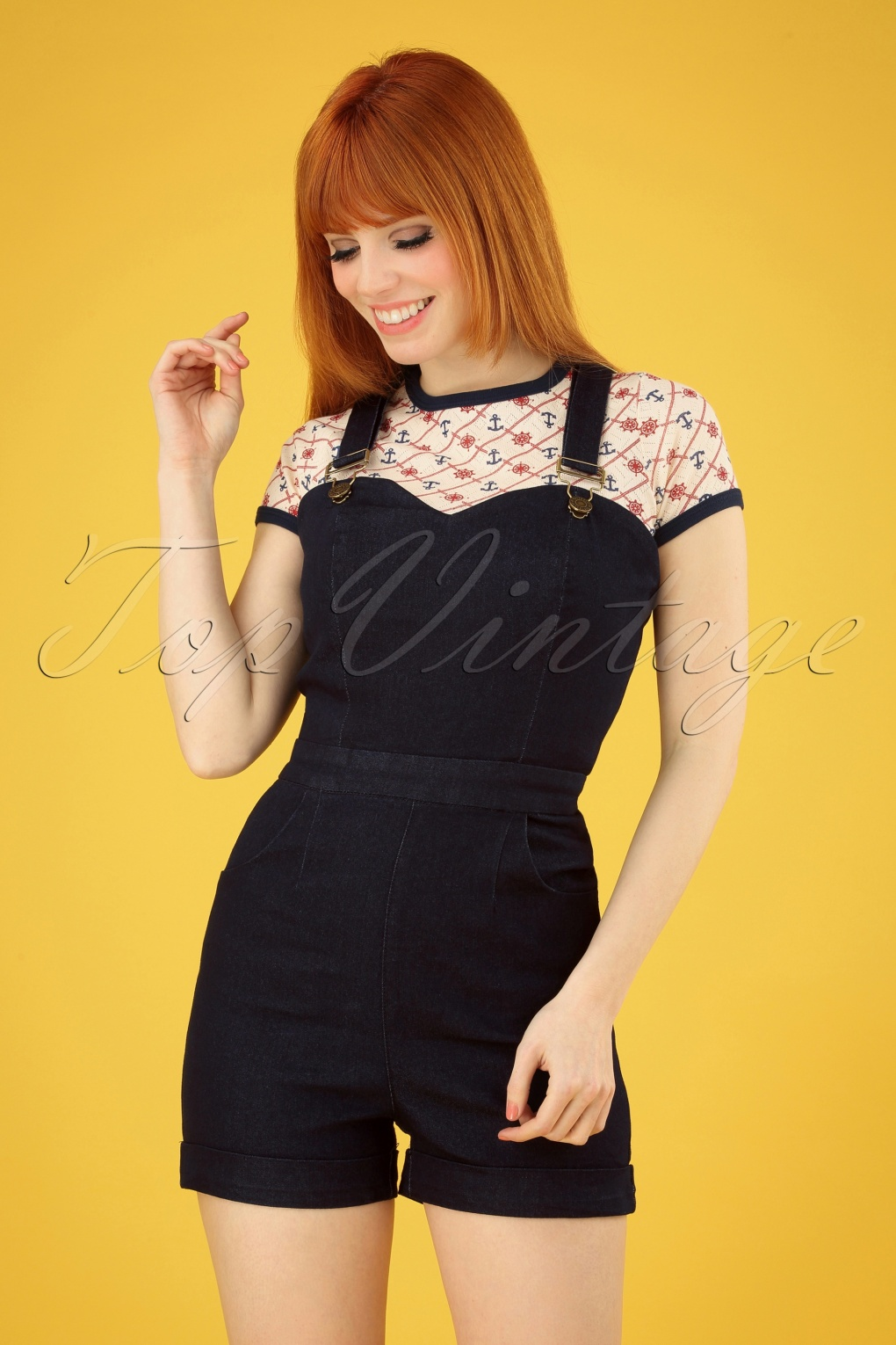 5eed0315b6 1950s Clothing 50s Willow Denim Playsuit in Navy £51.84 AT vintagedancer.com